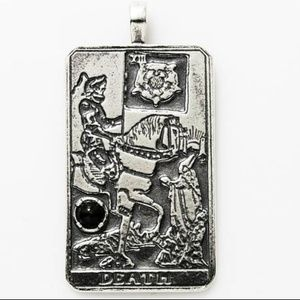 Death Tarot Pendant Sterling Silver Genuine Onyx